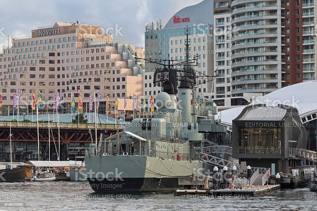 Australian Daring-class destroyer HMAS Vampire at Darling Harbour stock photo