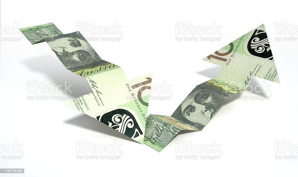 Australian Dollar Bank Note Recovery Trend Arrows royalty-free stock photo