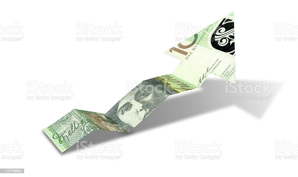 Australian Dollar Bank Note Upward Trend Arrow stock photo