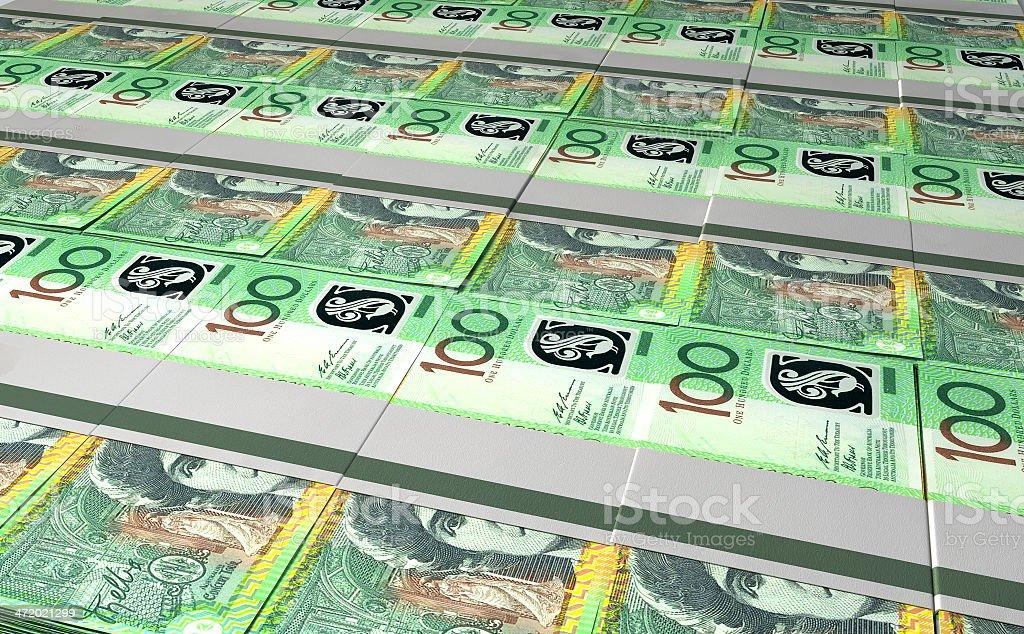 Australian Dollar Bill Bundles Laid Out royalty-free stock photo
