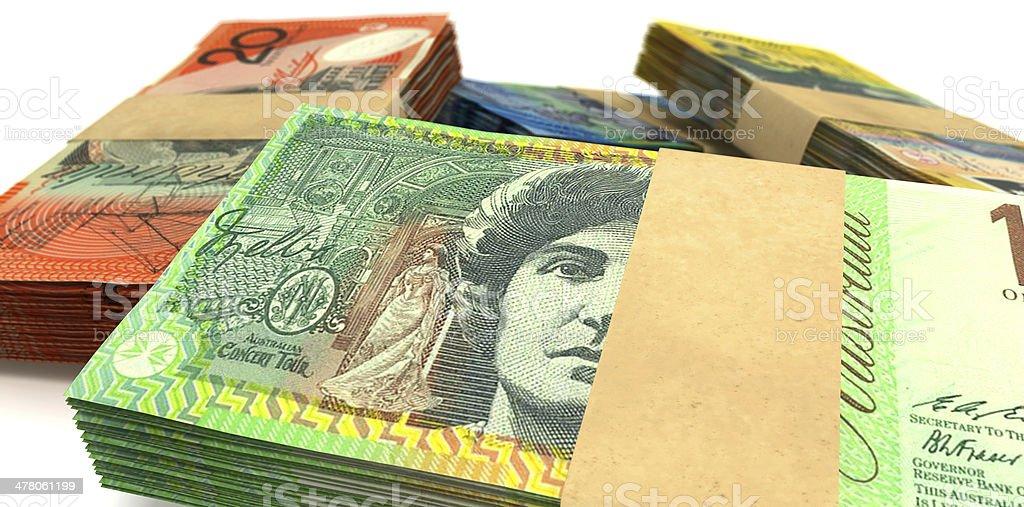 Australian Dollar Notes Bundles Stack Extreme Closeup royalty-free stock photo