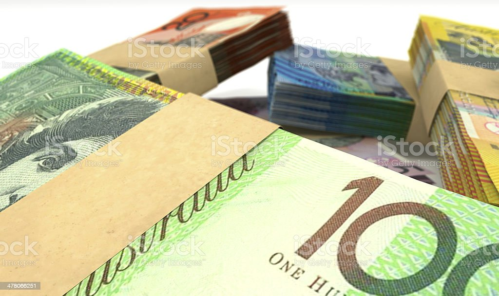 Australian Dollar Notes Bundles Stack Extreme Closeup royalty-free stock photo