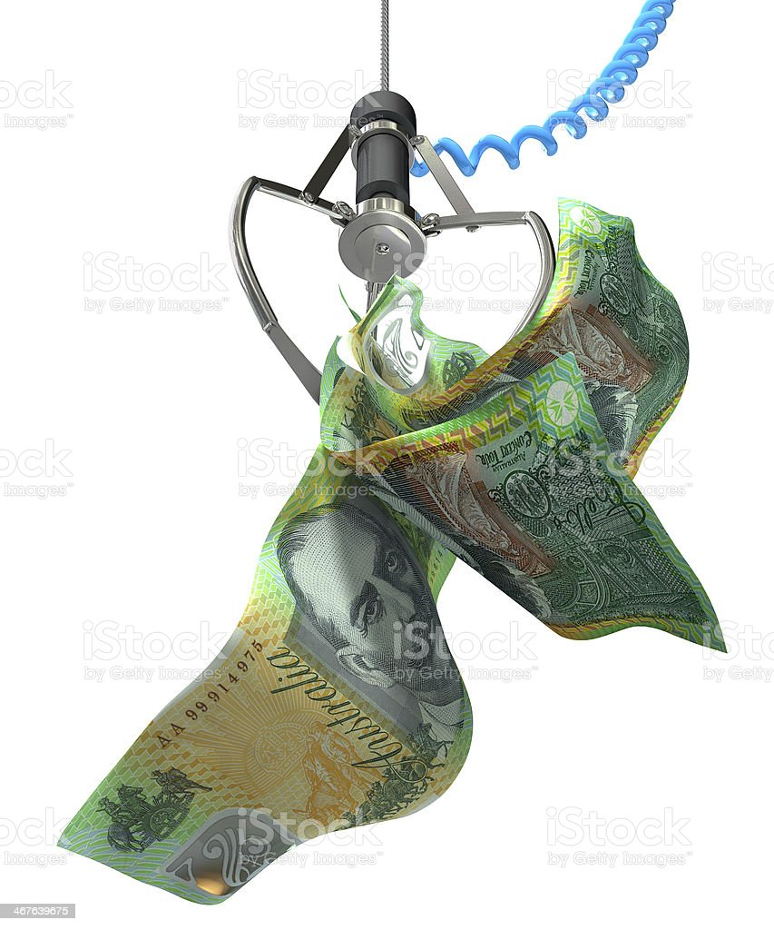 Australian Dollars In A Robotic Claw stock photo