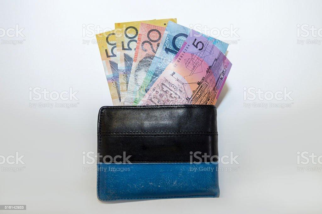 Australian dollars in wallet stock photo