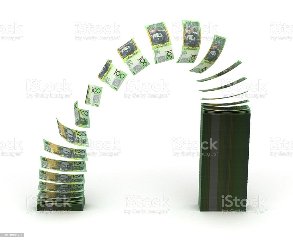 Australian dollars moving from one stack to another royalty-free stock photo