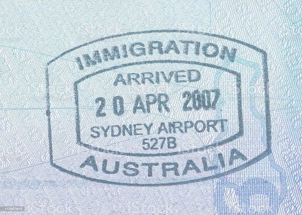 Australian emigration stemp stock photo