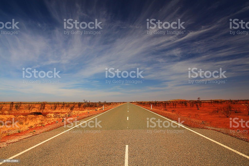 Australian endless outback road stock photo