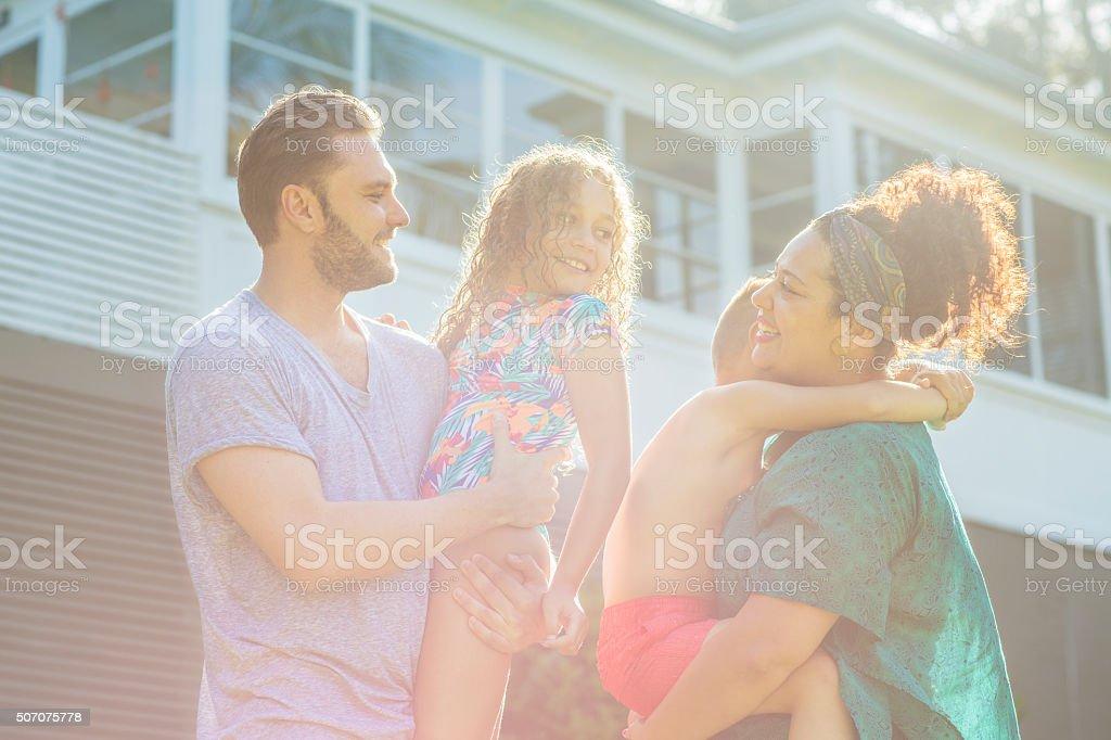 Australian family at home stock photo