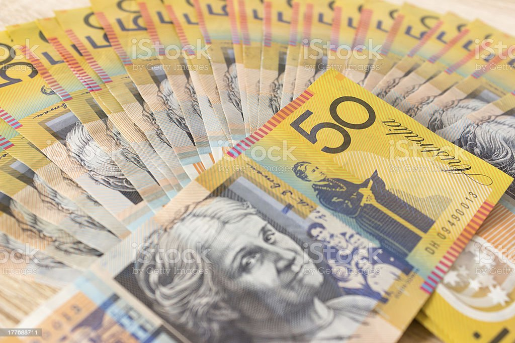 Australian fifty Dollar Money Bank Note Currency stock photo