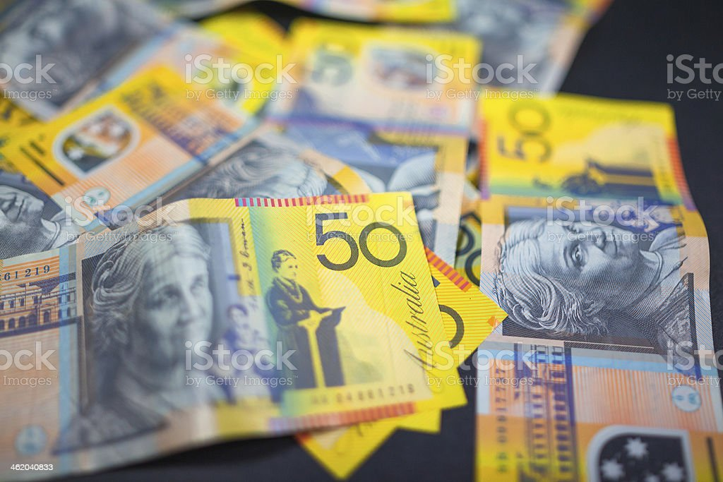 Australian Fifty Dollar Notes stock photo