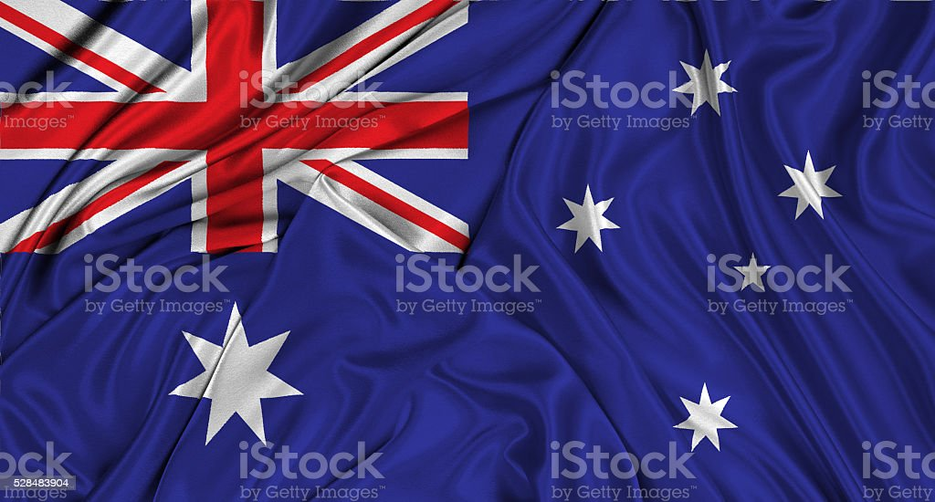 Australian flag 3d, silk textured stock photo