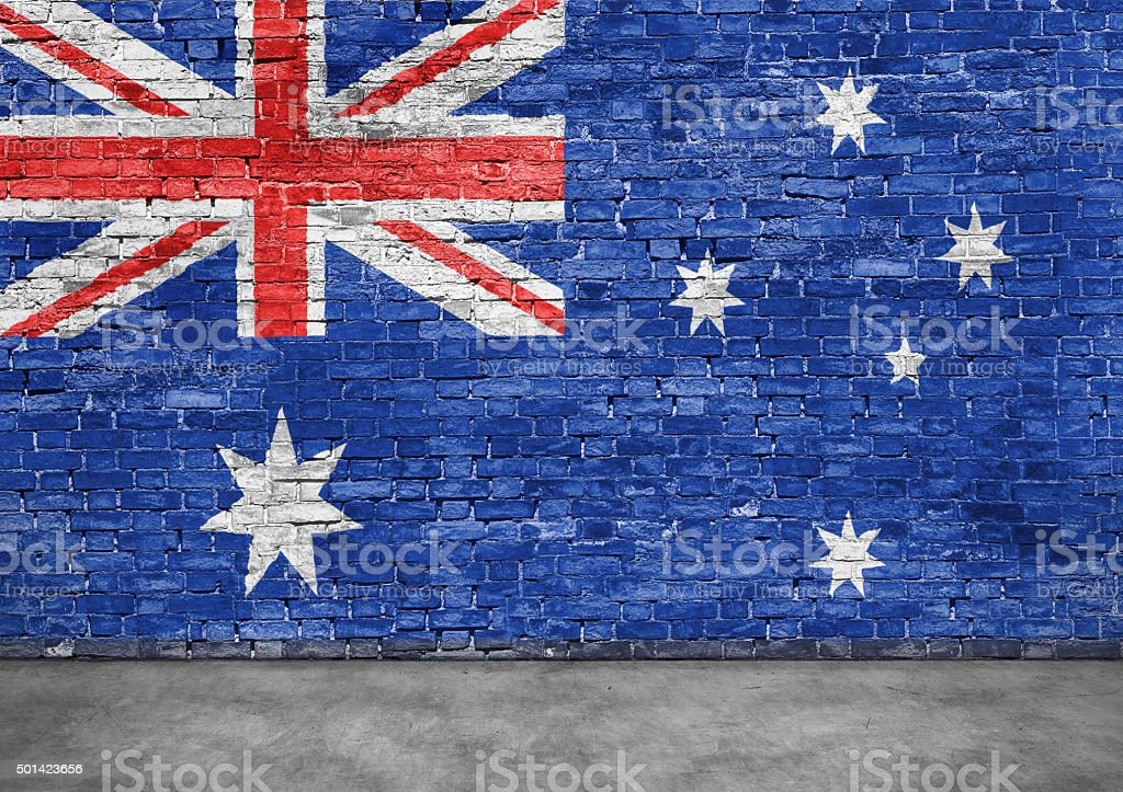 Australian flag and foreground stock photo