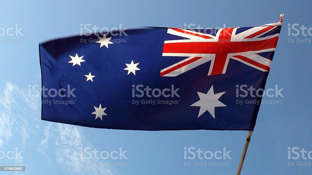 Australian Flag And Sky stock photo