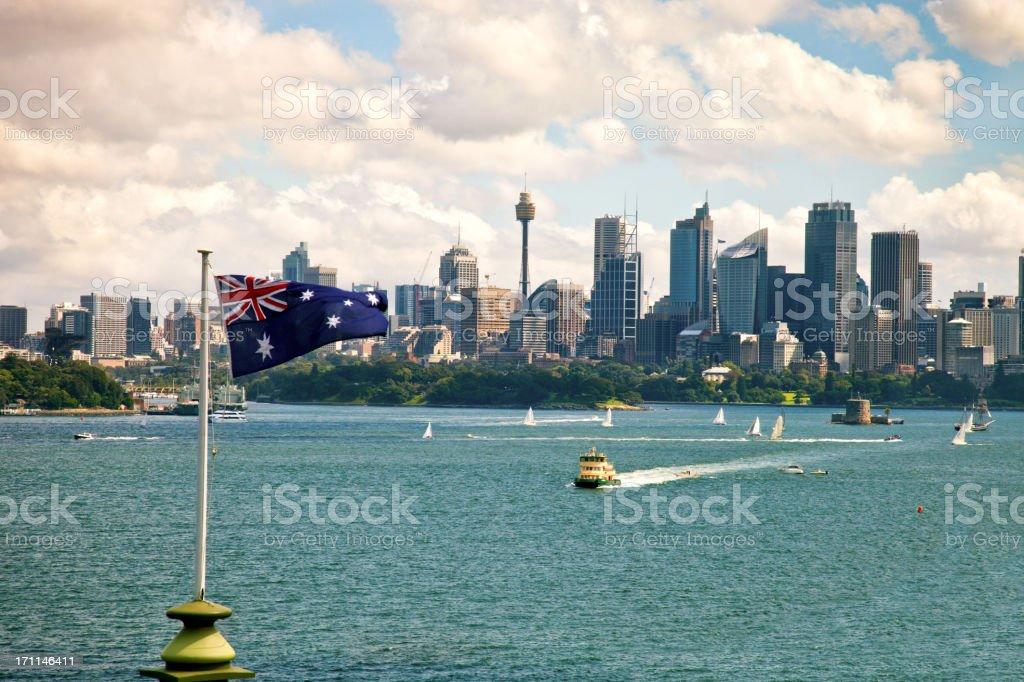 Australian flag and Sydney CBD stock photo