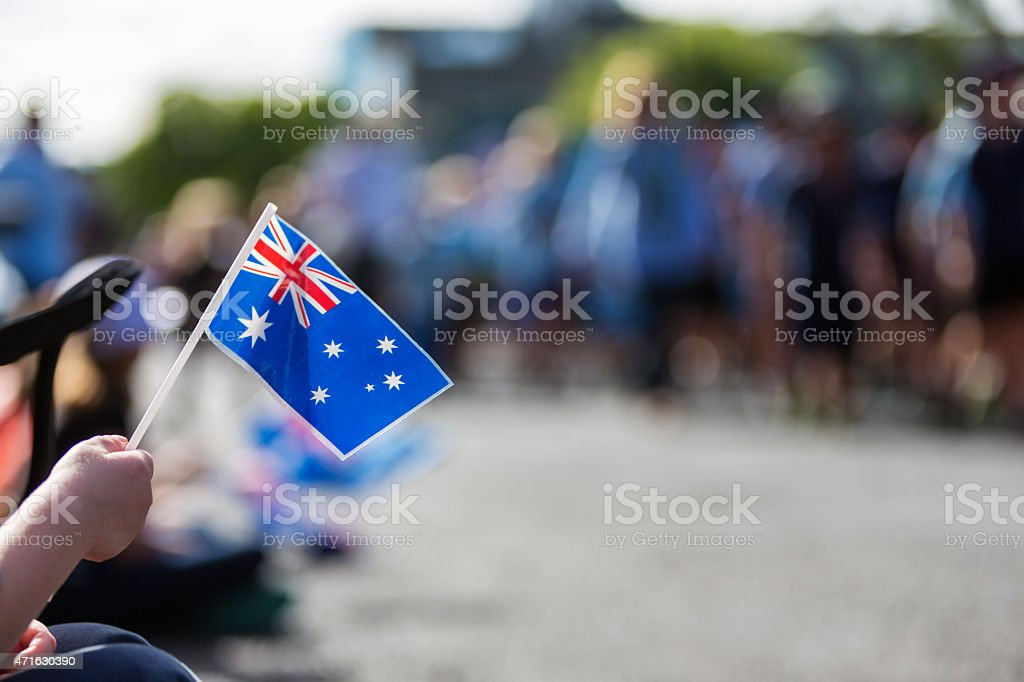 Australian Flag at ANZAC Day stock photo