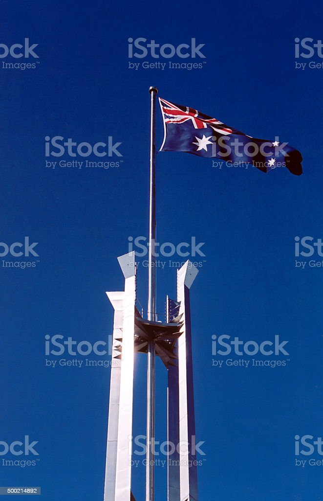 Australian flag at the parliament, Canberra stock photo