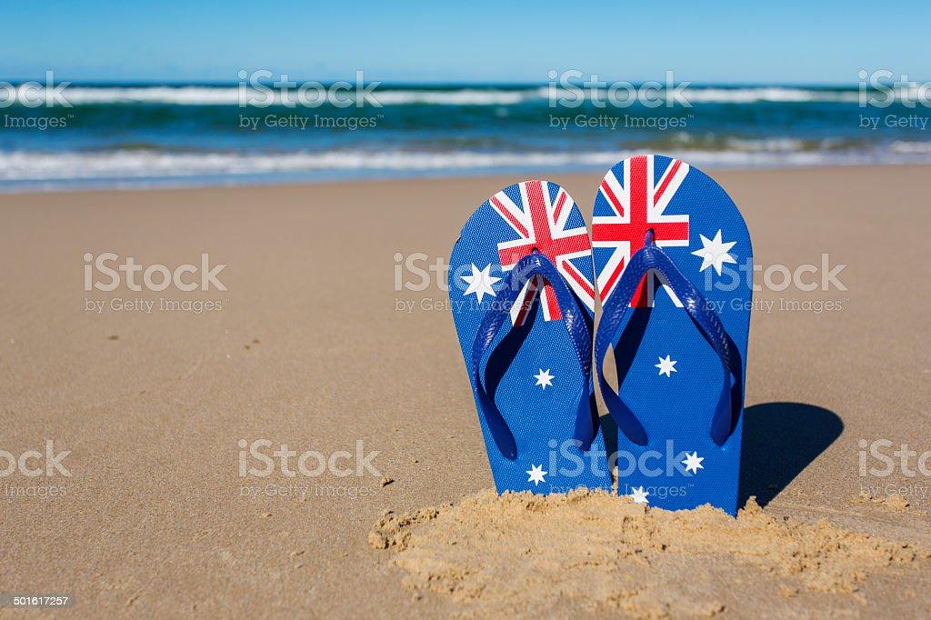 Australian Flag Beach Thongs stock photo