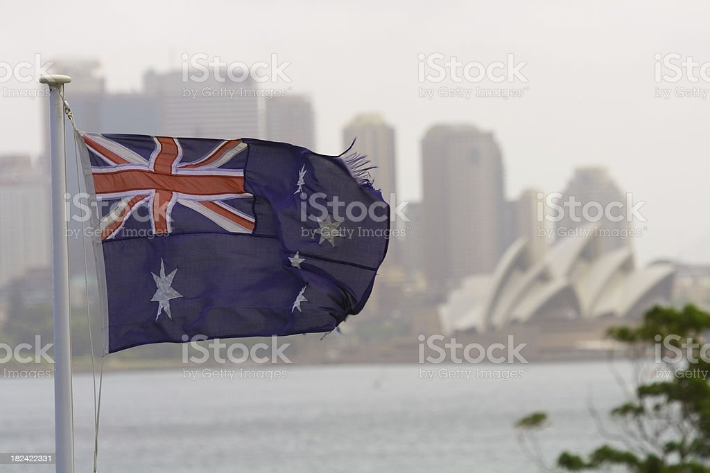 Australian Flag in front of Sydney Opera House royalty-free stock photo