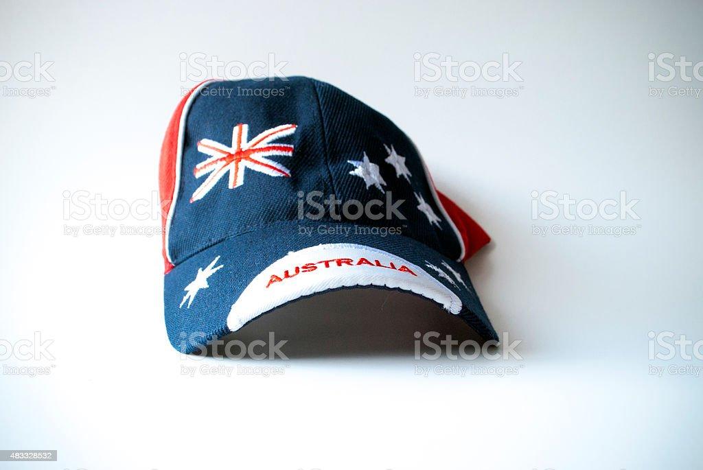 Australian flag on cap stock photo