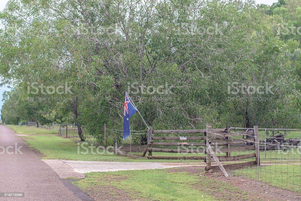 Australian flag on entrance to rural property stock photo