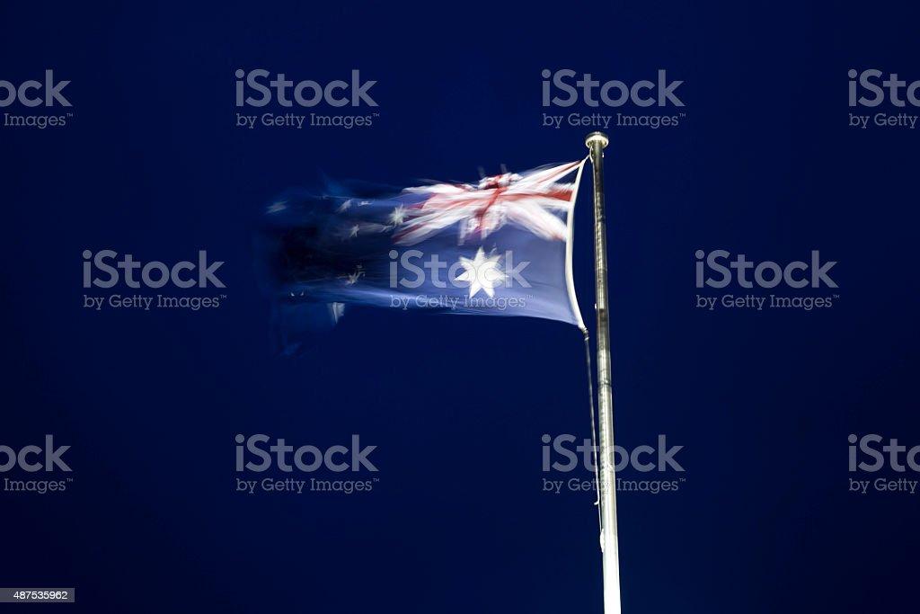 Australian Flag on pole flying stock photo