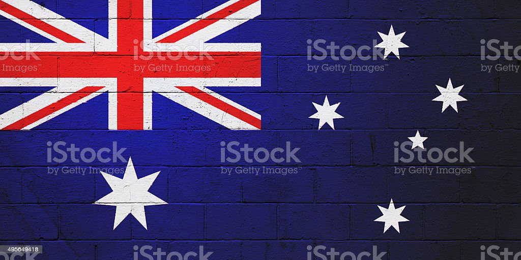 Australian Flag painted on a wall stock photo