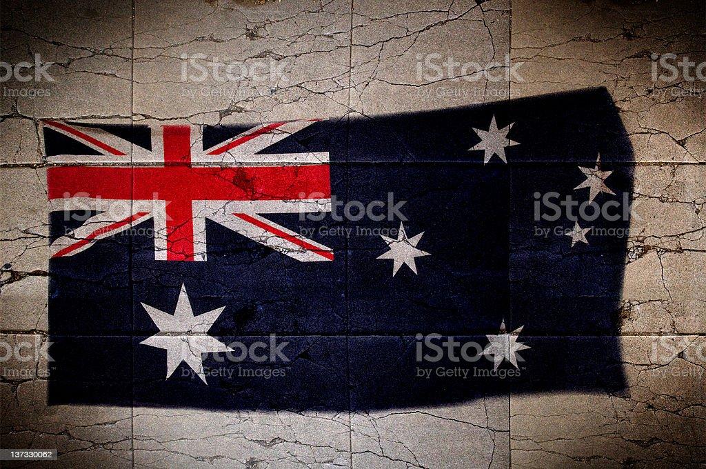 Australian flag painted on wall stock photo