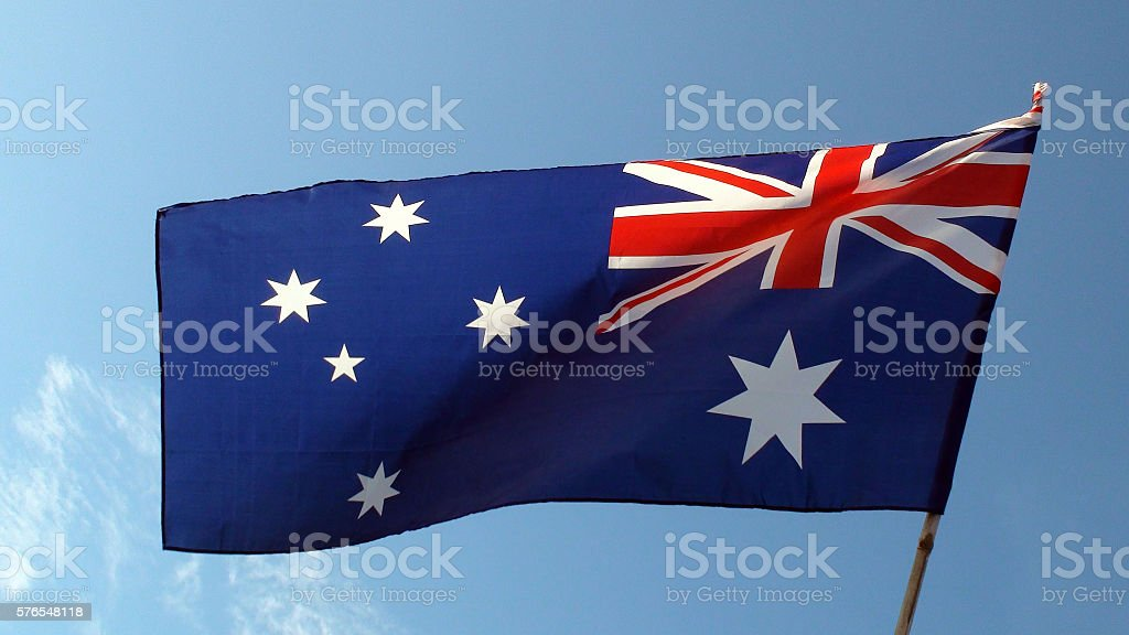 Australian Flag With Clipping Path stock photo