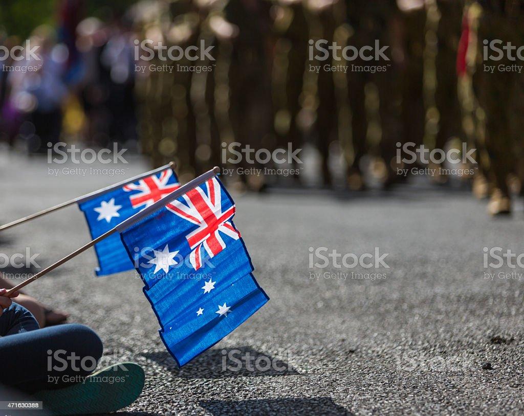 Australian Flags at ANZAC Day stock photo