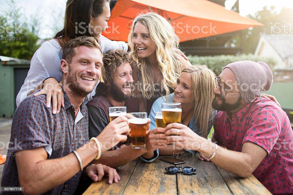Australian friends having drinks stock photo