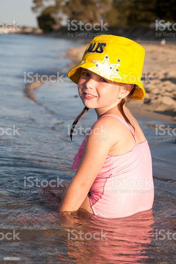 Australian Girl Sea Side stock photo