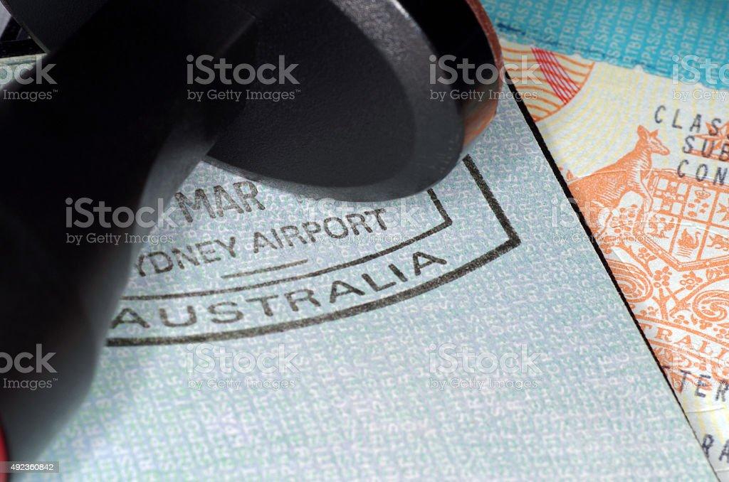 australian immigration passport stock photo