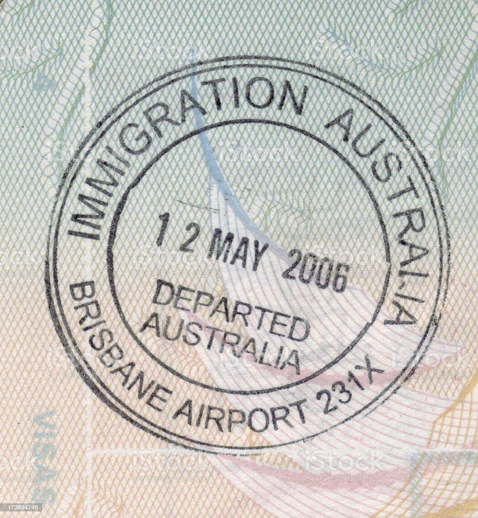Australian immigration stamp royalty-free stock photo