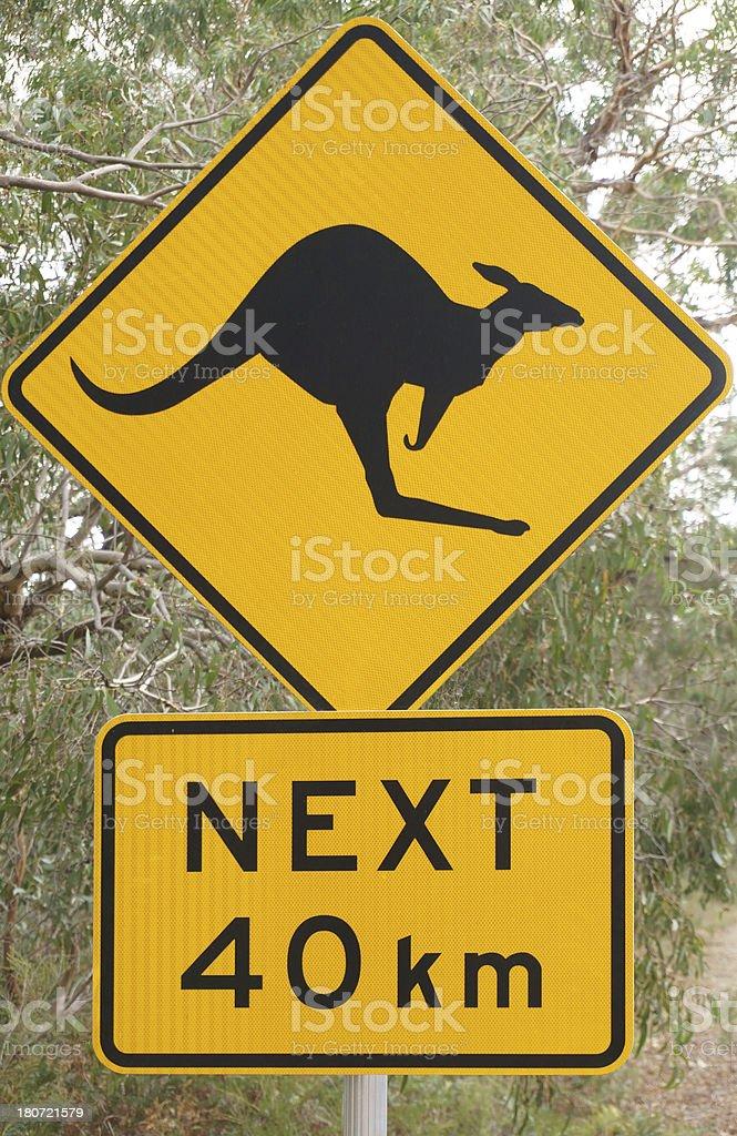 Australian Kangaroo Road Warning Sign stock photo