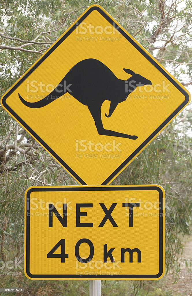 Australian Kangaroo Road Warning Sign stock photo