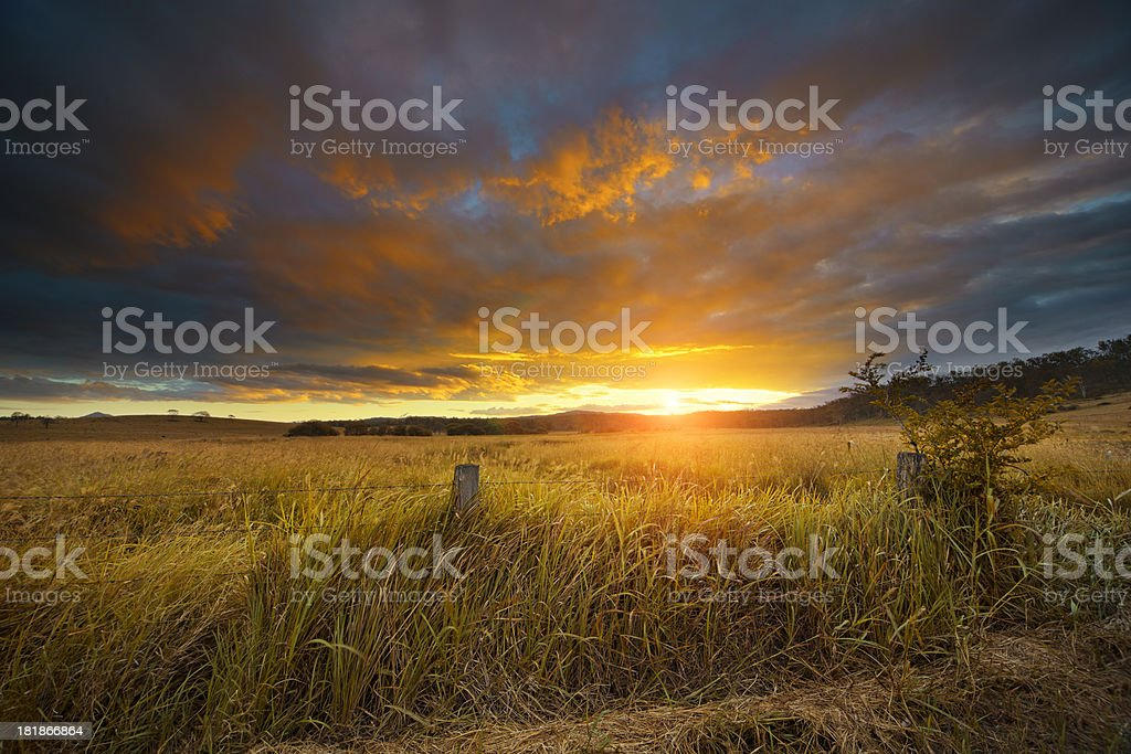 Australian landscape at sunset stock photo