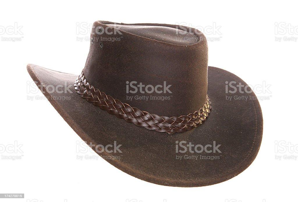 Australian leather cowboy hat stock photo