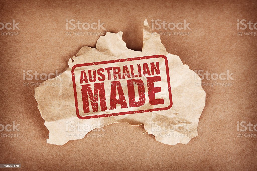 Australian Made on Crumpled Brown Paper Australia with Cardboard Background stock photo