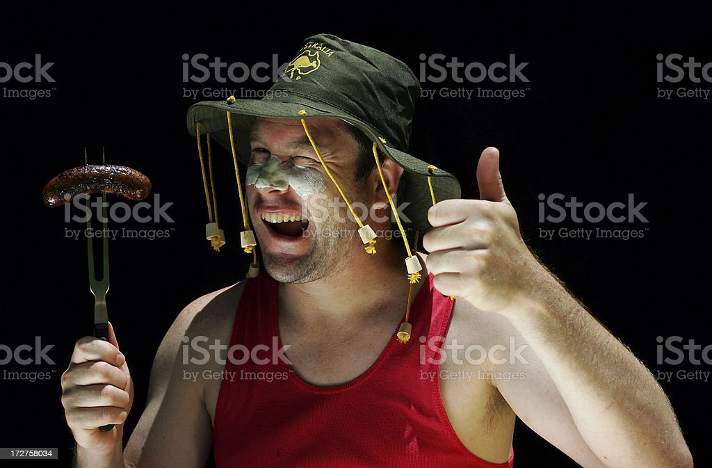 Australian Man at BBQ royalty-free stock photo