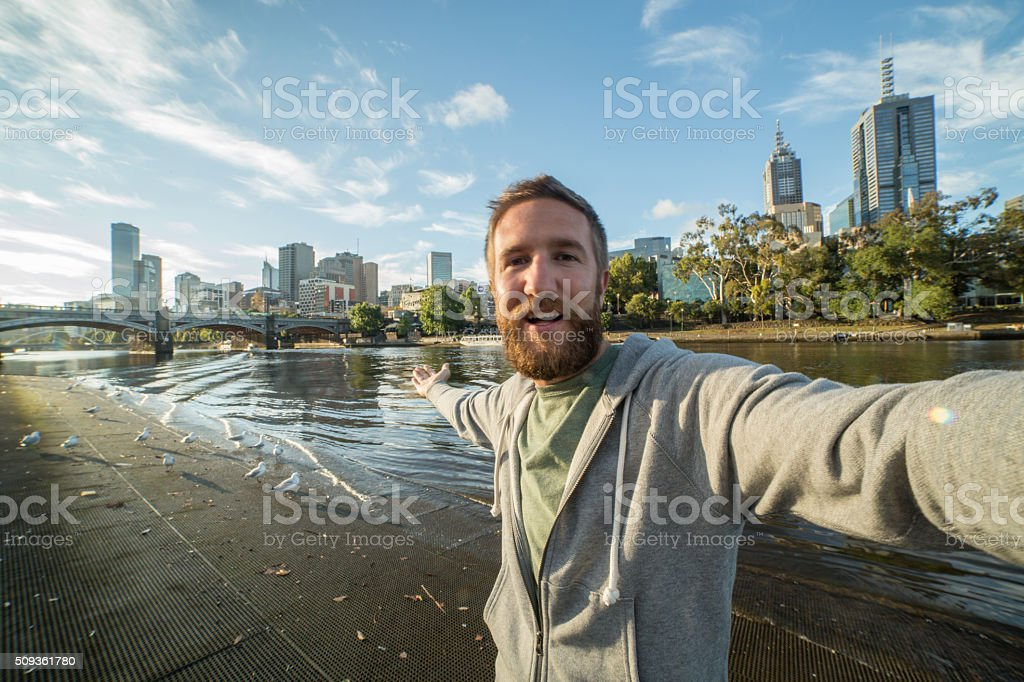 Australian man takes selfie portrait in Melbourne stock photo