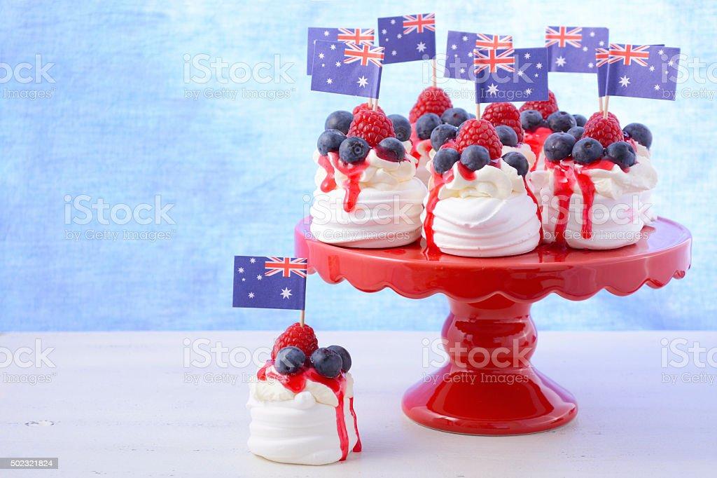 Australian Mini Pavlovas and flags stock photo