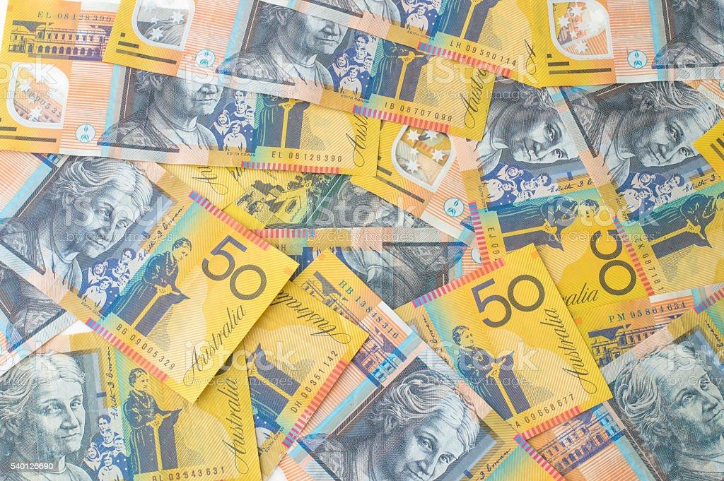 Australian Money - Aussie currency background stock photo