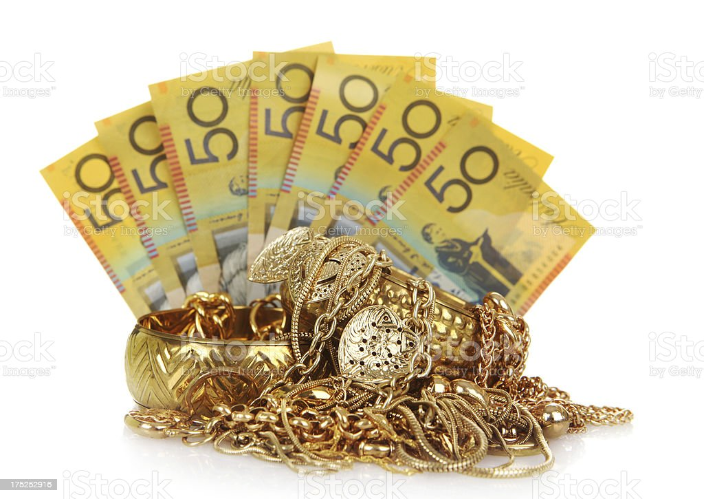 Australian Money for Scrap Gold stock photo