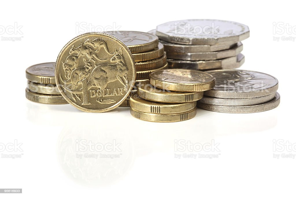 Australian money in coins and gold stock photo