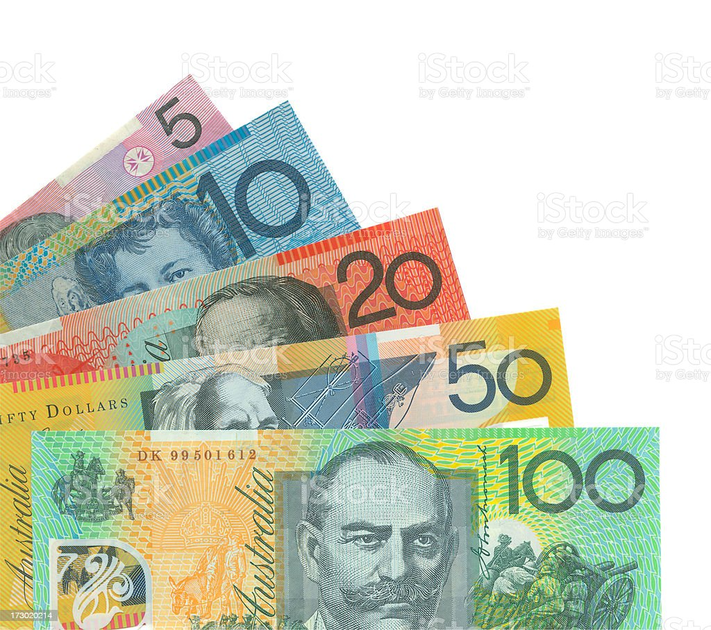 Australian Money Notes Isolated (clipping path) stock photo