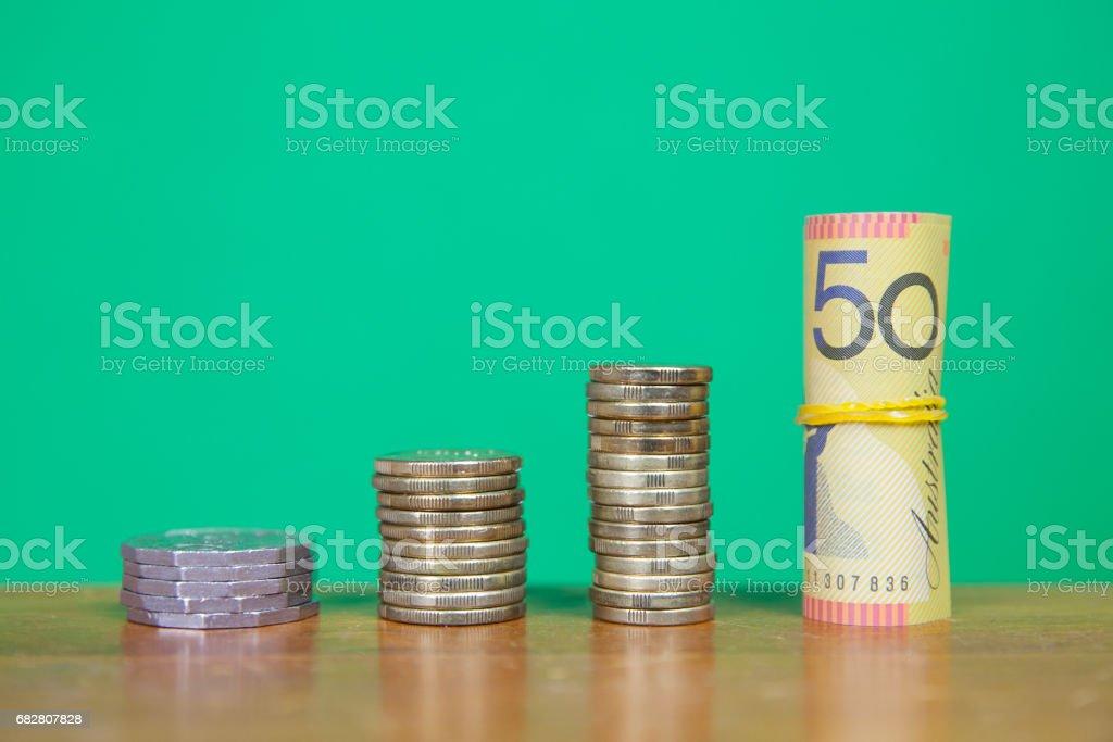 Australian Money on Green stock photo