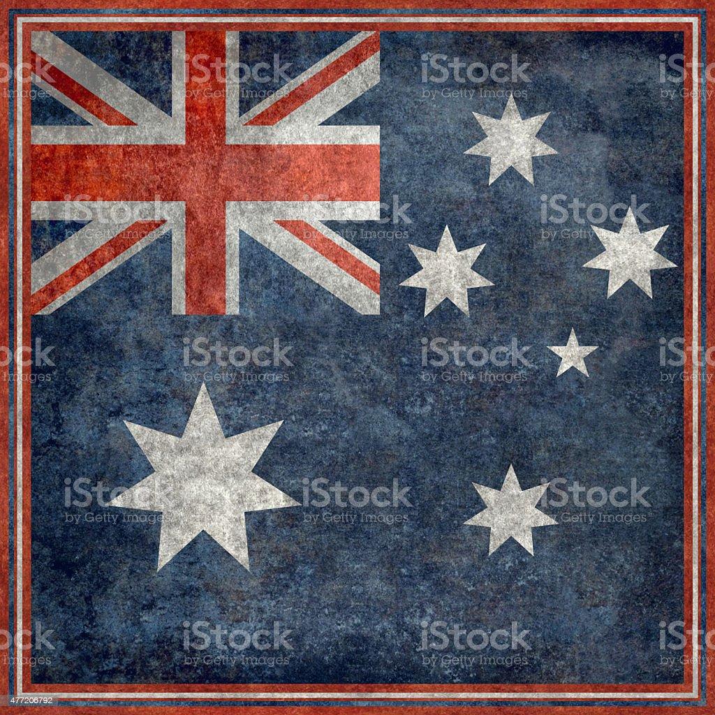 Australian national flag, Square vintage retro style stock photo