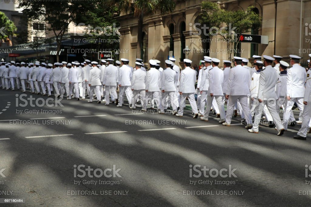 Australian Navy officers marching stock photo