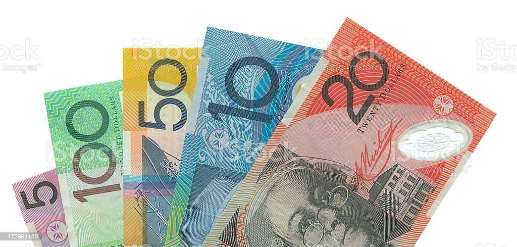 Australian Notes Isolated (clipping path included) royalty-free stock photo