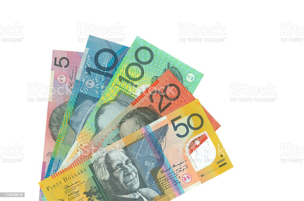 Australian Notes Isolated (clipping path) stock photo